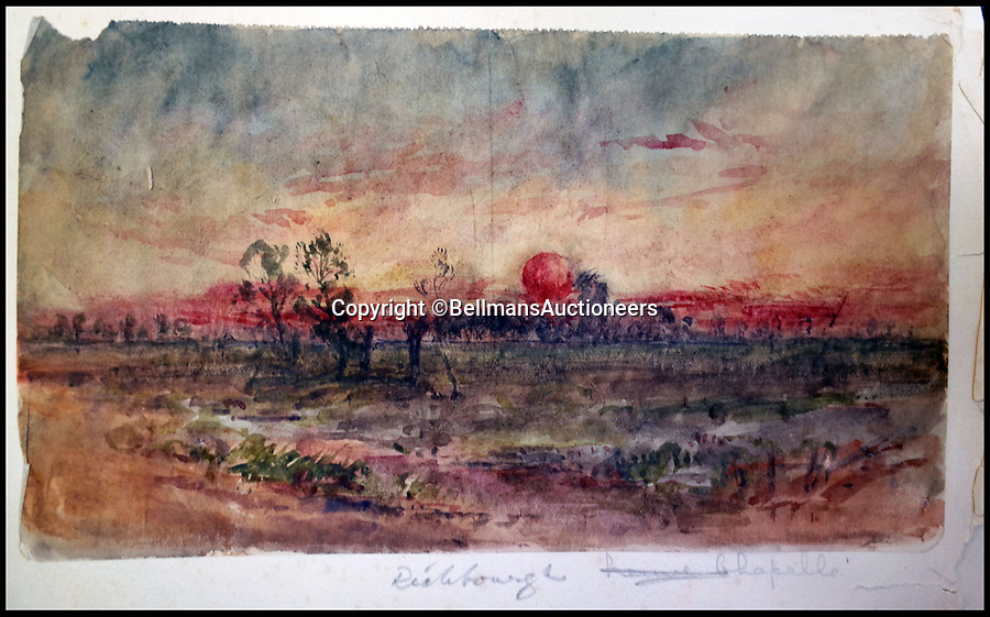 BNPS.co.uk (01202 558833)<br /> Pic: BellmansAuctioneers/BNPS<br /> <br /> Sunset near Richebourg.<br /> <br /> A collection of beautiful First War watercolours that offer a fascinating glimpse into one man's life in the trenches has emerged for sale a century later.<br /> <br /> Talented artist Finlay Mackinnon, who exhibited multiple times at the prestigious Royal Academy, answered the call to sign up in 1914 and spent almost all of the First World War fighting in France.<br /> <br /> But in his free time on the front he did what he loved best, capturing life in the trenches and also the beauty of their bleak surroundings in his pictures.<br /> <br /> Bellmans Auctioneers, who are selling the album of artwork, know little about the provenance of the album, which is expected to fetch £4,000 at auction.