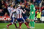 Atletico de Madrid's Joao Miranda, Jesus Gamez, Antoine Griezmann, Gabi Fernandez and Jan Oblak celebrate the victory in the Round of 16 of UEFA Champions League after the match.March 16,2015. (ALTERPHOTOS/Acero)