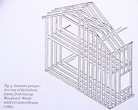 George Woodward. Image from the book,  Woodward Country Homes, 1865.  Isometric perspective view of the balloon frame. Cost was 40% cheaper than the mortise and tenon frame