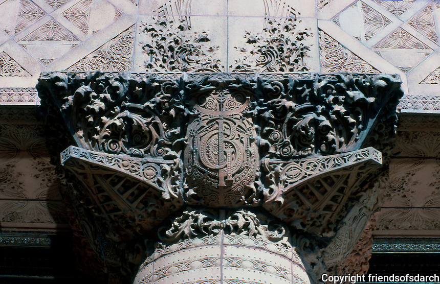 Louis Sullivan: Guaranty Bldg., Buffalo N.Y. Capital of column adjoining ground-floor plate-glass display window.  Photo '88.