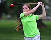 Samantha Arnold of West Islip tees off on Hole 1 of Bethpage State Park's Yellow Course during the second round of the NYSPHSAA girls golf state championship on Sunday, June 5, 2016.