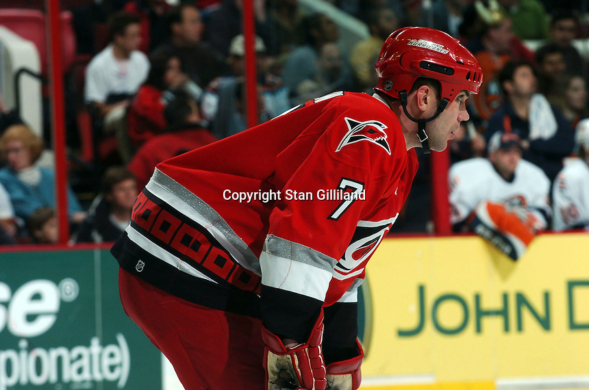 Carolina Hurricanes' Niclas Wallin of Sweden concentrates prior to a faceoff against the New York Islanders during their game Thursday, Jan. 19, 2006 in Raleigh, NC. Carolina won 4-3.