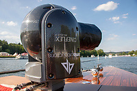 """Henley on Thames, United Kingdom, 3rd July 2018, Saturday,  """"Henley Royal Regatta"""",  Remote video camera, mounted on bow of Umpires Launch, View, Henley Reach, River Thames, Thames Valley, England, UK."""