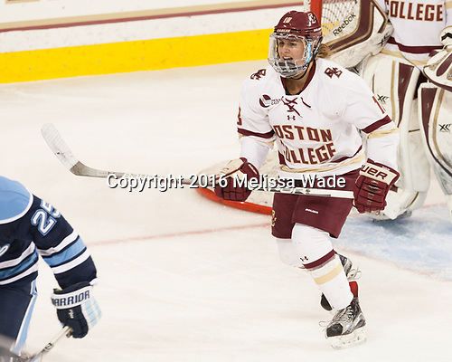 Toni Ann Miano (BC - 18) - The Boston College Eagles defeated the visiting University of Maine Black Bears 2-1 on Saturday, October 8, 2016, at Kelley Rink in Conte Forum in Chestnut Hill, Massachusetts.  The University of North Dakota Fighting Hawks celebrate their 2016 D1 national championship win on Saturday, April 9, 2016, at Amalie Arena in Tampa, Florida.