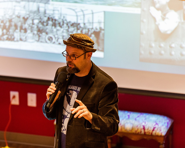 "July 26, 2017. Raleigh, North Carolina.<br /> <br /> Alan Gratz showed some of the photos that inspired the stories in his new book ""Refugee"".<br /> <br /> Author Alan Gratz spoke about and signed his new book ""Refugee"" at Quail Ridge Books. The young adult fiction novel contrasts the stories of three refugees from different time periods, a Jewish boy in 1930's Germany , a Cuban girl in 1994 and a Syrian boy in 2015."