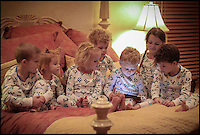 BNPS.co.uk (01202 558833).Pic: SmartPyjama/BNPS..The must have App for busy parents - Smart Pyjamas allows you to get your kids ready for bed in these special pyjamas - and then the cunning smart code can be scanned into an ipad or smartphone to read them a selection of bedtime stories...The £16 pyjamas - which start in sizes small enough for a one-year-old -  are printed with 47 clusters of dots which act like barcodes. The stories can either be listened to out loud or read by the children before nodding off to sleep....