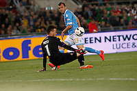 Norberto Neto  save  Goran Pandev   during the the Italian Cup final soccer match between Napoli and  Fiorentina at the Olympic stadium in Rome May 3, 2014