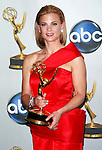 "Actress Gina Tognoni poses with her award for Outstanding Supporting Actress in a Drama Series for the ""Guiding Light"" at the 35th Annual Daytime Emmy Awards held at the Kodak Theatre in Los Angeles on June 20, 2008."