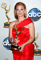 """Actress Gina Tognoni poses with her award for Outstanding Supporting Actress in a Drama Series for the """"Guiding Light"""" at the 35th Annual Daytime Emmy Awards held at the Kodak Theatre in Los Angeles on June 20, 2008."""