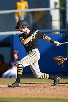 Chase Lambert (2) of the Bristol Pirates follows through on his swing against the Danville Braves at American Legion Post 325 Field on July 1, 2018 in Danville, Virginia. The Braves defeated the Pirates 3-2 in 10 innings. (Brian Westerholt/Four Seam Images)