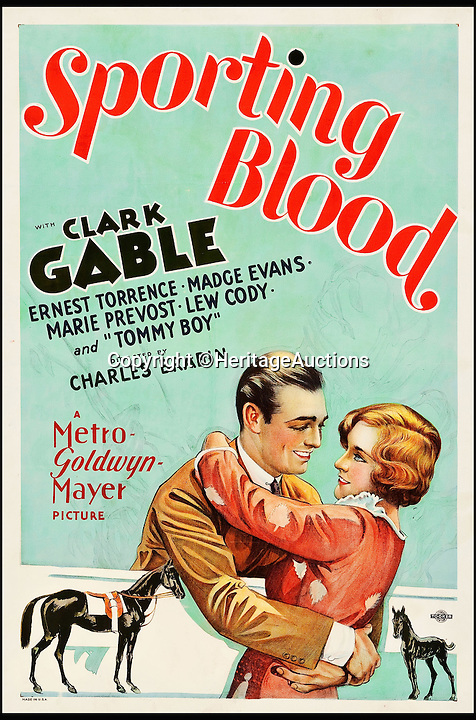 BNPS.co.uk (01202 558833)<br /> Pic: HeritageAuctions/BNPS<br /> <br /> Sporting Blood (MGM, 1931) estimate $10,000.<br /> <br /> A lucky family is set to make a staggering &pound;160,000 after a hoard of old film posters they stumbled upon under the floor of their new home turned out to be 'lost' Hollywood relics.<br /> <br /> The prized stash of 17 perfectly preserved posters was discovered by Bob and Dylan Basta as they tore up the lino in the house their dad Robert was renovating. <br /> <br /> After calling in experts from leading auctioneers Heritage they found that among their treasure trove were five never-seen-before posters from the Golden Age of Hollywood.<br /> <br /> The collection is now tipped to fetch a whopping $240,000 - around &pound;160,000 - at Heritage Auctions in Dallas, Texas.