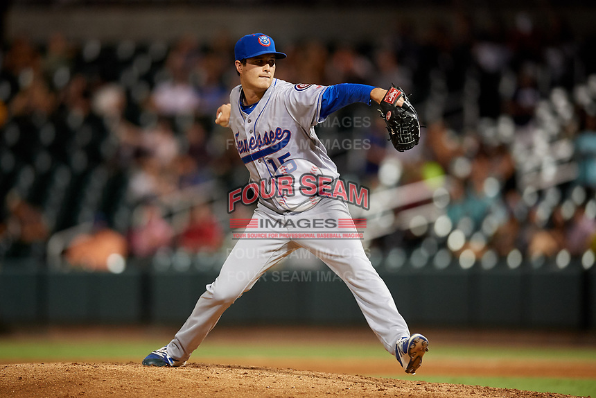 Tennessee Smokies relief pitcher Preston Morrison (15) delivers a pitch during a game against the Birmingham Barons on August 16, 2018 at Regions FIeld in Birmingham, Alabama.  Tennessee defeated Birmingham 11-1.  (Mike Janes/Four Seam Images)