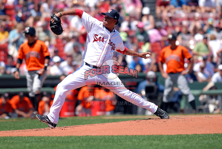 LHP Felix Doubront of the Portland Sea Dogs, the AA E.L. affiliate of the Boston Red Sox, delivers a pitch during the Futures at Fenway at Fenway Park in Boston, MA on August 8, 2009 (Photo by Ken Babbitt/Four Seam Images)