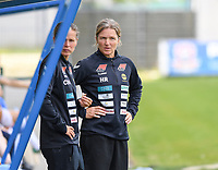 20190807 - DENDERLEEUW, BELGIUM : LSK's head coach Hege Riise (right) pictured during the female soccer game between the Norwegian LSK Kvinner Fotballklubb Ladies and the Northern Irish Linfield ladies FC , the first game for both teams in the Uefa Womens Champions League Qualifying round in group 8 , Wednesday 7 th August 2019 at the Van Roy Stadium in Denderleeuw  , Belgium  .  PHOTO SPORTPIX.BE for NTB  | DAVID CATRY