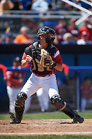 Batavia Muckdogs catcher Blake Anderson (26) checks the runner during a game against the Williamsport Crosscutters on July 16, 2015 at Dwyer Stadium in Batavia, New York.  Batavia defeated Williamsport 4-2.  (Mike Janes/Four Seam Images)