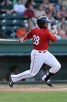 First baseman Aneudis Peralta (28) of the Greenville Drive bats in a game against the Asheville Tourists on Tuesday, July 1, 2014, at Fluor Field at the West End in Greenville, South Carolina. Asheville won, 5-2. (Tom Priddy/Four Seam Images)