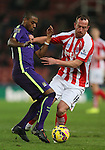 Fernandinho of Manchester City challenged by Charlie Adams of Stoke City - Barclays Premier League - Stoke City vs Manchester City - Britannia Stadium - Stoke on Trent - England - 11th February 2015 - Picture Simon Bellis/Sportimage