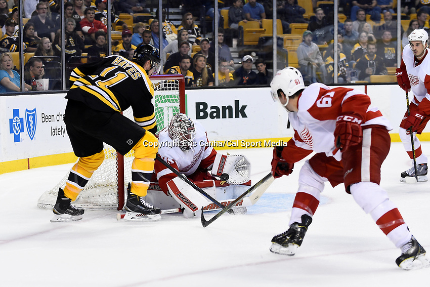 Monday, September 28, 2015, Boston, MA -  Detroit Red Wings goalie Jimmy Howard (35) stops a shot as Boston Bruins right wing Jimmy Hayes (11) looks for the rebound  during the NHL game between the Detroit Red Wings and the Boston Bruins held at TD Garden, in Boston, Massachusetts. Detroit defeats Boston 3-1 in regulation time. Eric Canha/CSM