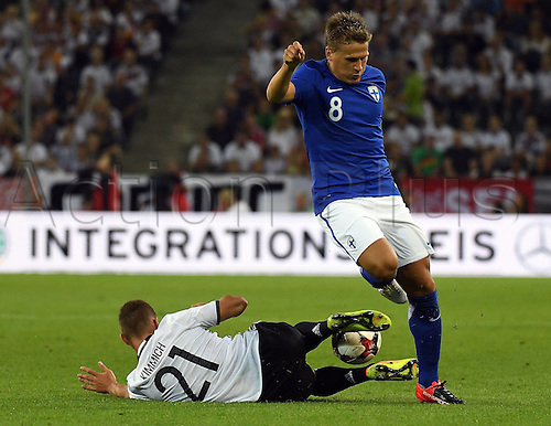 31.08.2016 Moenchengladbach, Germany. International football freindly. Germany versus Finland.  Joshua Kimmich (Germany), Robin Lod (Finland)