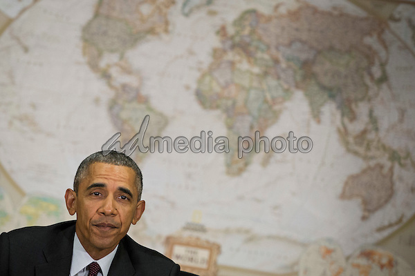 United States President Barack Obama meets with his National Security Council at the State Department, February 25, 2016 in Washington, DC. According to the White House, the meeting will focus on the situation with ISIS and Syria, along with other regional issues.<br /> Photo Credit: Drew Angerer/CNP/AdMedia