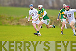 Darragh O'Connell Kerry in action against Mark Moloney Kildare in the National Hurling League at Abbeydorney on Sunday.