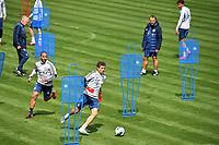 20th April 2020, Munich, Germany; Thomas MUELLER (Bayern Munich)  with Thiago ALCANTARA (FCB),Hans Dieter Flick (Trainer Bayern Munich),<br /> Bayern Munich training at Saebener Strasse.