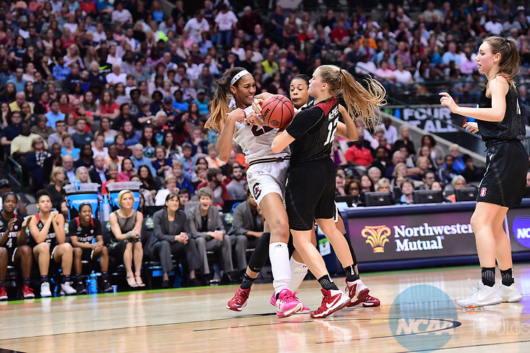 DALLAS, TX - MARCH 31:  A'ja Wilson #22 of the South Carolina Gamecocks and Brittany McPhee #12 of the Stanford Cardinal fight for the ball during the 2017 Women's Final Four at American Airlines Center on March 31, 2017 in Dallas, Texas. (Photo by Justin Tafoya/NCAA Photos via Getty Images)