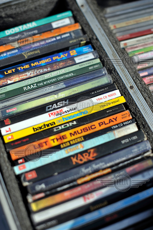 A choice of music CDs for a DJ to use at Grewal Farms, one of many wedding reception centres in Amritsar.