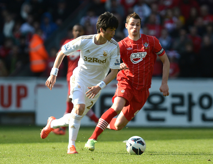 Swansea City's Ki Sung-Yong in action during todays match  .. - (Photo by Ian Cook/CameraSport) - ..Football - Barclays Premiership - Swansea City v Southampton - Saturday 20th April 2013 - Liberty Stadium - Swansea..© CameraSport - 43 Linden Ave. Countesthorpe. Leicester. England. LE8 5PG - Tel: +44 (0) 116 277 4147 - admin@camerasport.com - www.camerasport.com