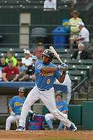 Myrtle Beach Pelicans infielder Jeimer Candelario (9) at bat during a game against the Salem Red Sox at Ticketreturn.com Field at Pelicans Ballpark on May 6, 2015 in Myrtle Beach, South Carolina.  Myrtle Beach defeated Salem 4-2. (Robert Gurganus/Four Seam Images)
