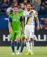 Carson, CA - Saturday July 29, 2017: Cristian Roldan, Jermaine Jones during a Major League Soccer (MLS) game between the Los Angeles Galaxy and the Seattle Sounders FC at StubHub Center.