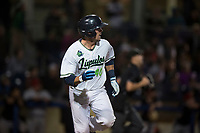 Hillsboro Hops catcher Zachary Jones (40) hustles down the first base line during a Northwest League game against the Salem-Keizer Volcanoes at Ron Tonkin Field on September 1, 2018 in Hillsboro, Oregon. The Salem-Keizer Volcanoes defeated the Hillsboro Hops by a score of 3-1. (Zachary Lucy/Four Seam Images)