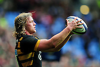 Tommy Taylor of Wasps looks to throw into a lineout. European Rugby Champions Cup match, between Wasps and Connacht Rugby on December 11, 2016 at the Ricoh Arena in Coventry, England. Photo by: Patrick Khachfe / JMP