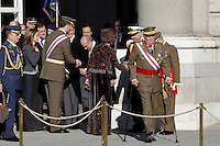Princess Letizia of Spain, Prince Felipe of Spain, King Juan Carlos of Spain and Queen Sofia of Spain attend the traditional 'Pascua Militar' ceremony at The Royal Palace. January 06, 2013. (ALTERPHOTOS/Caro Marin)