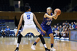 DURHAM, NC - NOVEMBER 26: Presbyterian's Cortney Storey (10) and Duke's Leaonna Odom (5). The Duke University Blue Devils hosted the Presbyterian College Blue Hose on November 26, 2017 at Cameron Indoor Stadium in Durham, NC in a Division I women's college basketball game. Duke won the game 79-45.