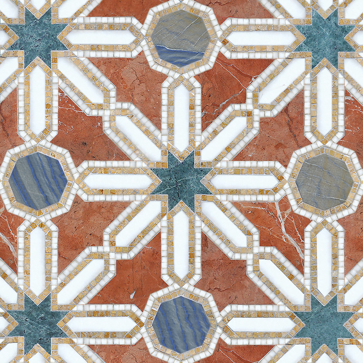 Alcazar Grande, a waterjet and hand-cut stone mosaic, shown in polished Calacatta, Spring Green, Blue Macauba, Rojo Alicante, and Renaissance Bronze, is part of the Miraflores Collection by Paul Schatz for New Ravenna.
