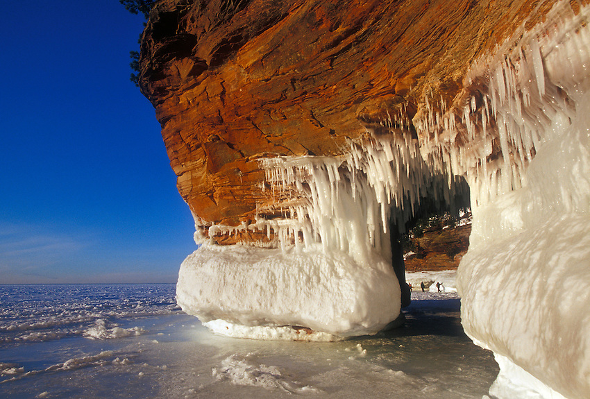 The ice-covered sea caves of Lake Superior at Squaw Point in Apostle Islands National Lakeshore near Bayfield, Wis.