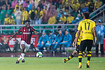 AC Milan Midfielder Hakan Calhanoglu (L) looks to bring the ball down during the International Champions Cup 2017 match between AC Milan vs Borussia Dortmund at University Town Sports Centre Stadium on July 18, 2017 in Guangzhou, China. Photo by Marcio Rodrigo Machado / Power Sport Images