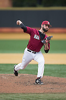 Harvard Crimson relief pitcher Nick Scahill (34) in action against the Wake Forest Demon Deacons at David F. Couch Ballpark on March 5, 2016 in Winston-Salem, North Carolina.  The Crimson defeated the Demon Deacons 6-3.  (Brian Westerholt/Four Seam Images)