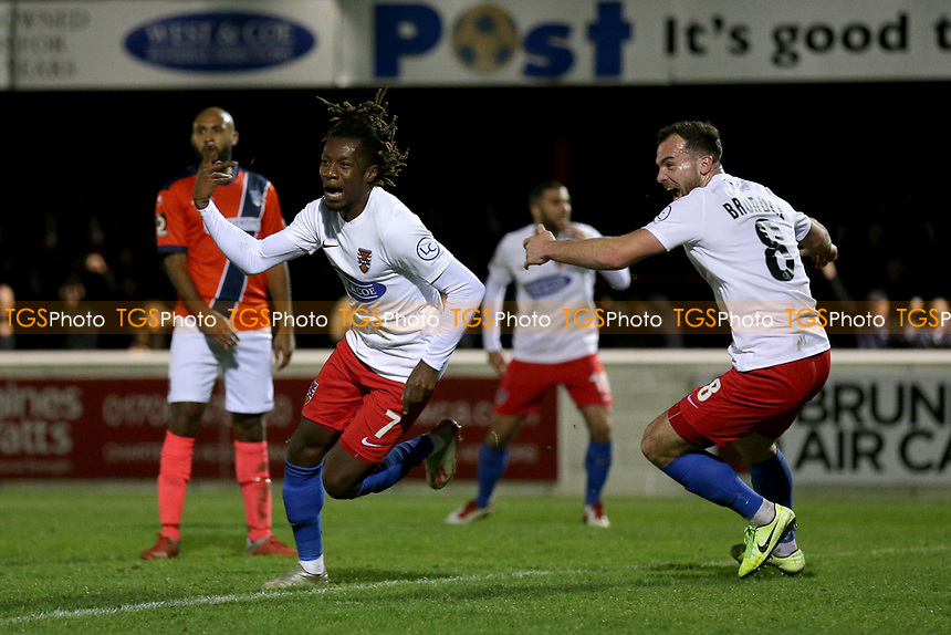 Alexander McQueen of Dagenham scores the first goal for his team and celebrates during Dagenham & Redbridge vs Maidenhead United, Vanarama National League Football at the Chigwell Construction Stadium on 7th December 2019