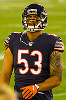 Chicago Bears linebacker John Timu (53) during a National Football League game against the Green Bay Packers on September 28, 2017 at Lambeau Field in Green Bay, Wisconsin. Green Bay defeated Chicago 35-14. (Brad Krause/Krause Sports Photography)