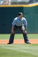 First base umpire Jeff Gosney during the International League game between the Indianapolis Indians and the Charlotte Knights at BB&T BallPark on June 21, 2015 in Charlotte, North Carolina.  The Knights defeated the Indians 13-1.  (Brian Westerholt/Four Seam Images)