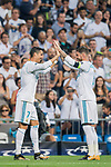 Cristiano Ronaldo of Real Madrid celebrates scoring with teammate Sergio Ramos during the UEFA Champions League 2017-18 match between Real Madrid and APOEL FC at Estadio Santiago Bernabeu on 13 September 2017 in Madrid, Spain. Photo by Diego Gonzalez / Power Sport Images