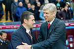 Managers Remi Garde of Aston Villa (left) and Arsene Wenger of Arsenal meet before the game - Football - Barclays Premier League - Aston Villa vs Arsenal - Villa Park Birmingham - 13th December 2015 - Season 2015/2016 - Photo Malcolm Couzens/Sportimage