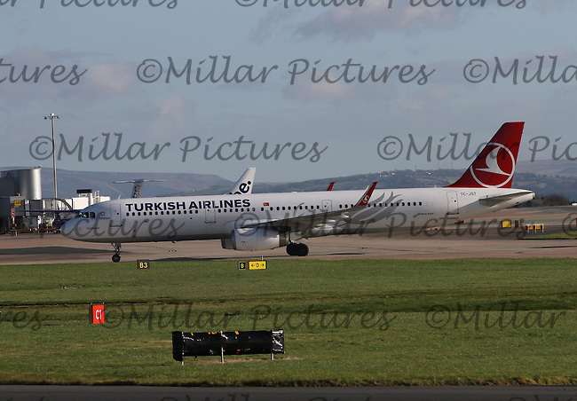 A Turkish Airlines Airbus A321-231 Registration TC-JST taxying having landed from Istanbul Ataturk International Airport at Manchester Airport on 14.2.16.