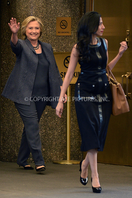 www.acepixs.com<br /> September 17, 2016 New York City<br /> <br /> Hillary Clinton and Huma Abedin leave the Tonight Show with Jimmy Fallon on September 17, 2016 in New York City.<br /> <br /> Credit: Kristin Callahan/ACE Pictures<br /> <br /> <br /> Tel: 646 769 0430<br /> Email: info@acepixs.com