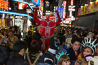 Crowds in Center Gai during the Halloween celebrations in Shibuya, Tokyo, Japan. Saturday October 29th 2016 Halloween celebration in Japan have grown massively in the last few years. To ensure the safety of the crowds in Shibuya this year, the police closed several roads leading to the famous Hachiko Square, allowing costumed revellers to spread over a larger area.