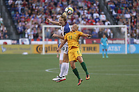 Seattle, WA - Thursday July 27, 2017: Samantha Mewis and Tameka Butt during a 2017 Tournament of Nations match between the women's national teams of the United States (USA) and Australia (AUS) at CenturyLink Field.