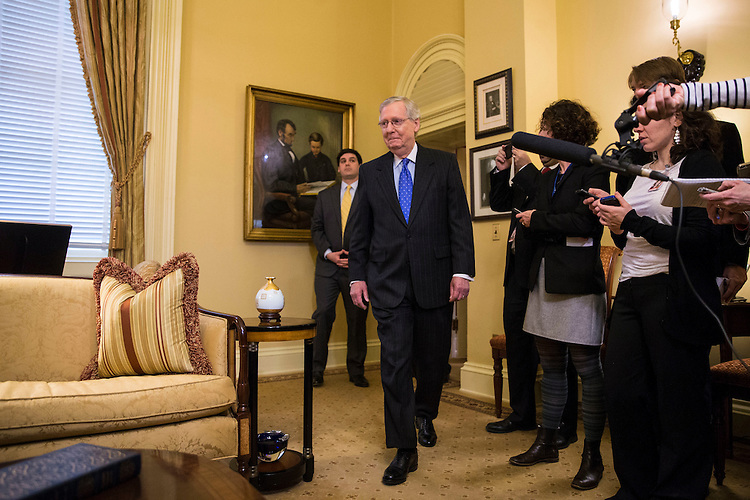 Senate Majority Leader Mitch McConnell of Kentucky arrives to meet with Supreme Court Nominee Judge Neil Gorsuch and Vice President Mike Pence on Capitol Hill, in Washington, Feb. 1, 2017. (Al Drago/Pool/The New York Times)