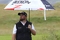 Shane Lowry (IRL) blows a kiss to fellow players as he walks off the 18th tee during Saturday's Round 3 of the Dubai Duty Free Irish Open 2019, held at Lahinch Golf Club, Lahinch, Ireland. 6th July 2019.<br /> Picture: Eoin Clarke | Golffile<br /> <br /> <br /> All photos usage must carry mandatory copyright credit (© Golffile | Eoin Clarke)